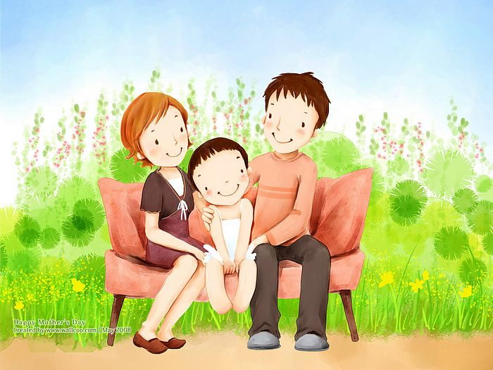 Lovely illustration of Happy family on sofa wallcoo.com